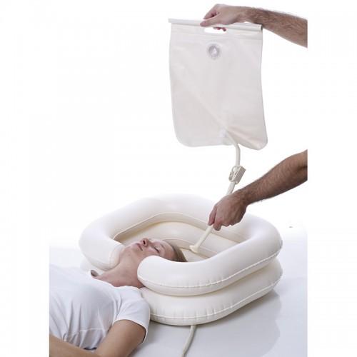 Lavacabezas inflable con depósito