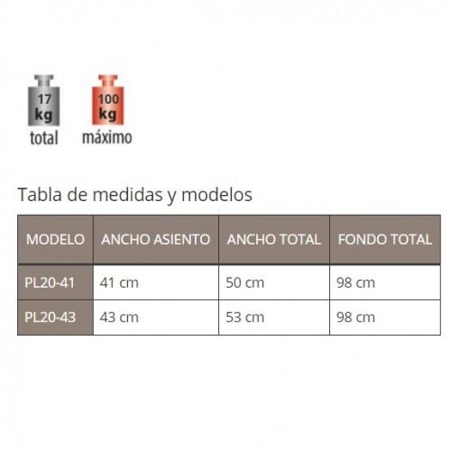 Tabla de pesos y medidas silla PL20 para ascensor