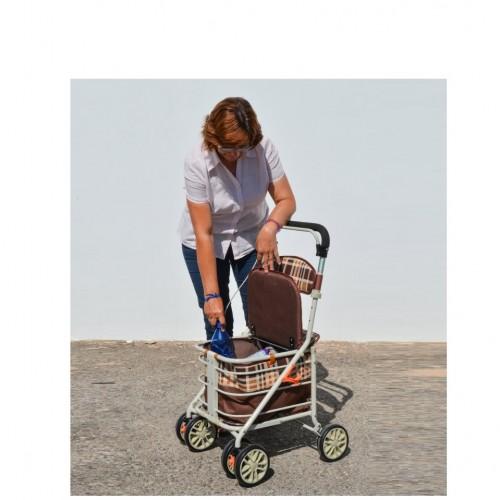 Caminador carrito de la compra en uso