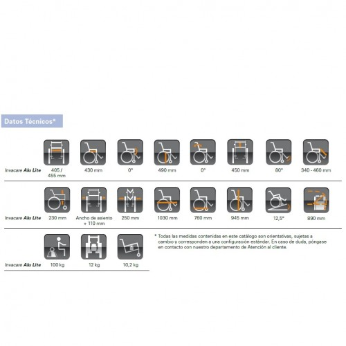 Tabla de medidas silla alulite (diversas tallas)