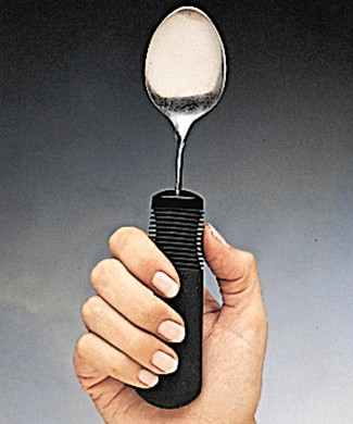 Cuchara mano derecha e izquierda mango grueso