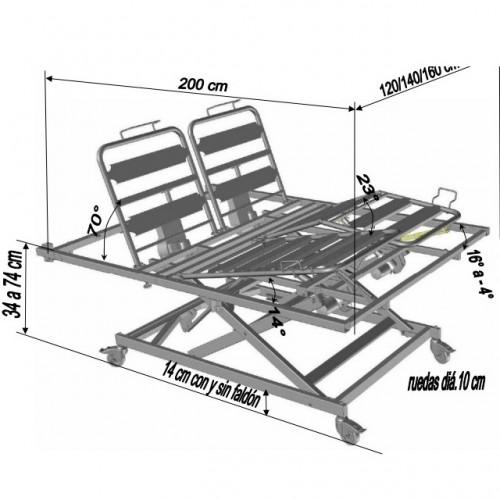 Estructura y medidas cama matrimonio articulada elevadora divisys